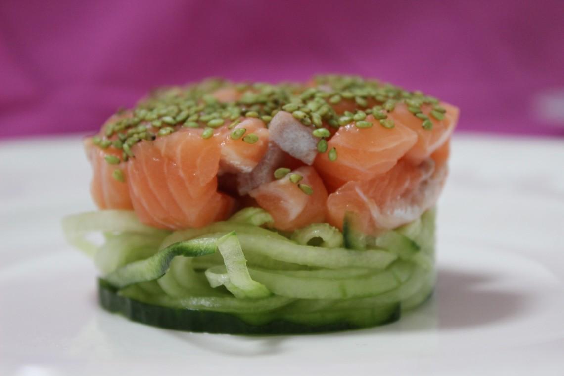 raw salmon with wasabi
