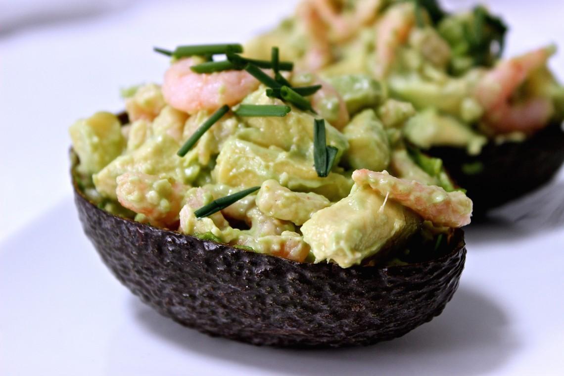 Avocado gevuld met garnalen
