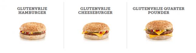 Glutenvrije hamburger bij McDonalds